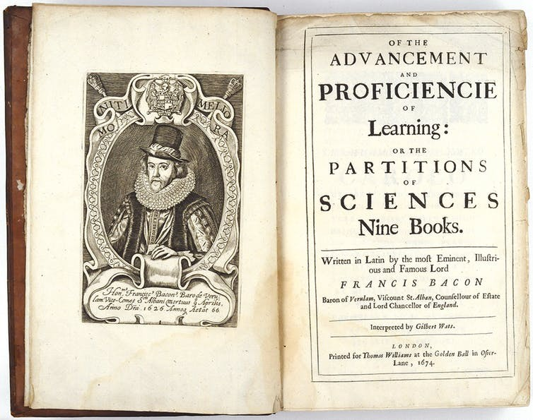 Title page of Francis Bacon's Advancement of Learning, 1674 edition.  Francis Bacon / wiki