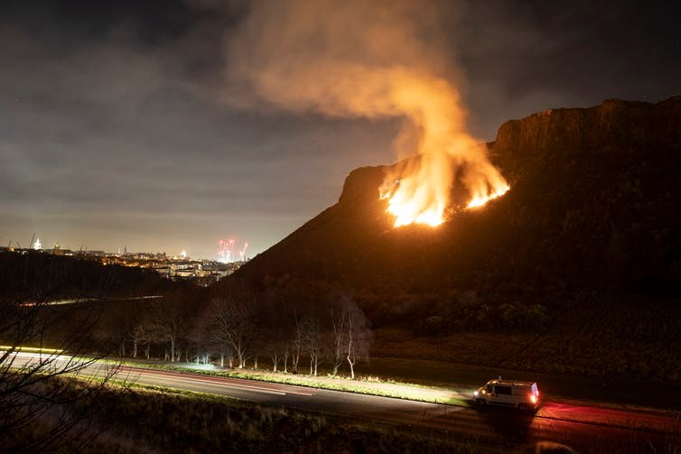 A gorse fire on Arthur's Seat, Edinburgh, Feb 2019 (Jane Barlow/PA)