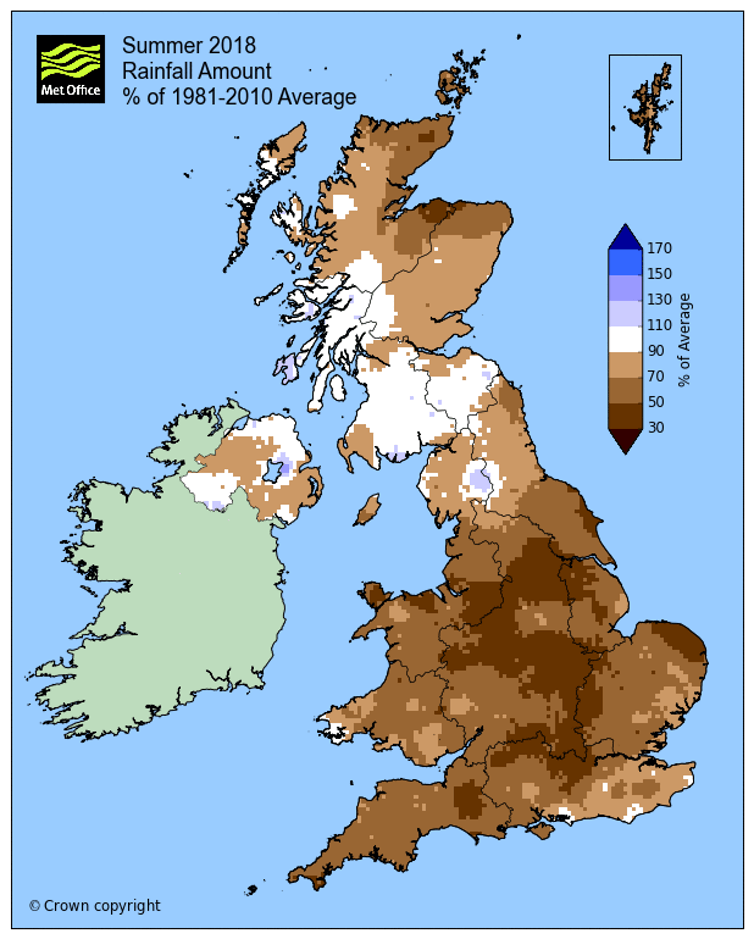 Summer rainfall in 2018 as percentage of 1981-2010 average (Met Office)