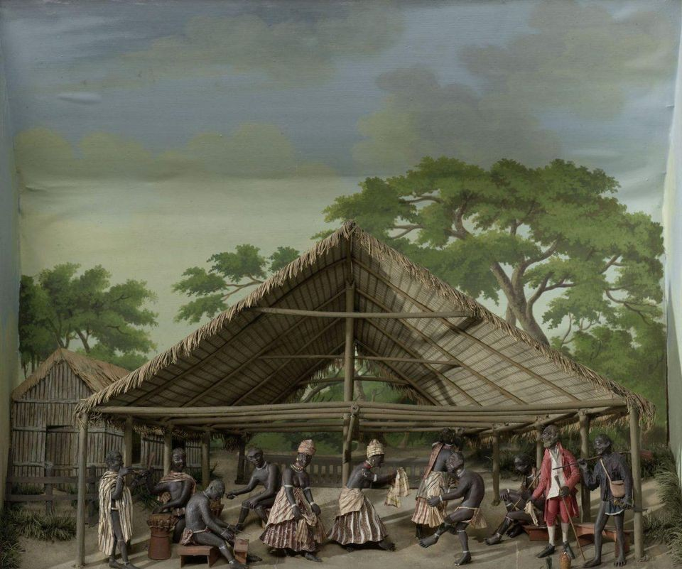 Diorama (three-dimensional tableau) of a slave dance by the Surinamese-Dutch artist Gerrit Schouten, 1830 (Rijksmuseum)