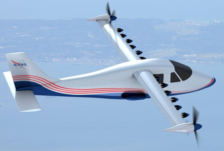 This artist's concept of NASA's experimental electric plane design shows 14 motors along the wings.  NASA