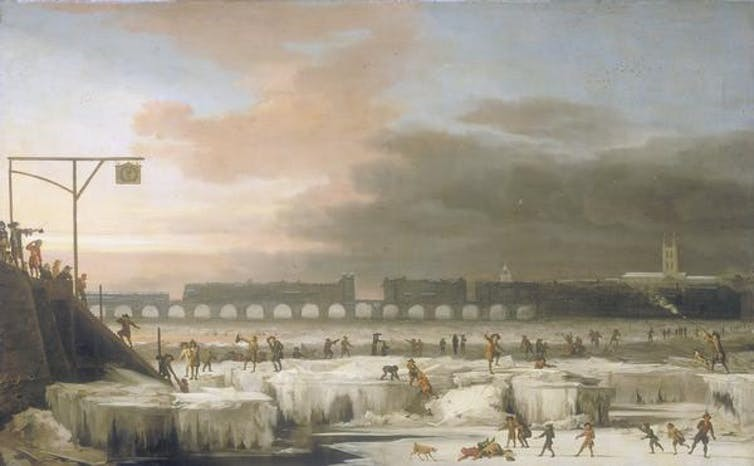 'The Frozen Thames' (1677). Did Europe's Little Ice Age derive from 56 million deaths in the Americas?  Abraham Hondius/Wikipedia