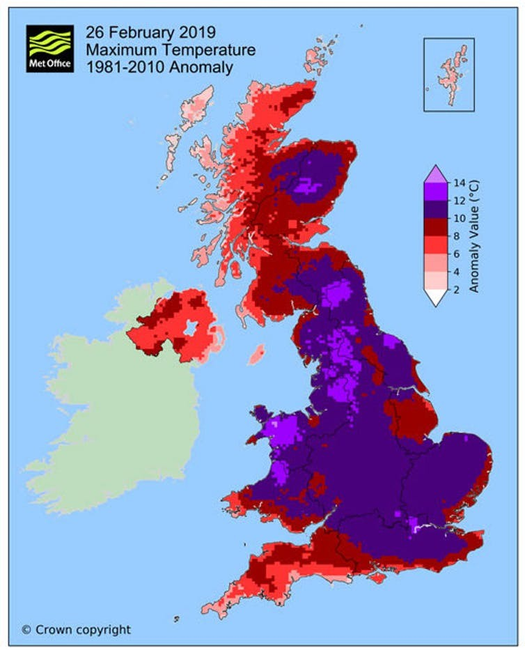 Difference in daily maximum temperatures for February 26, 2019 compared to 1981-2010 average (Met Office)