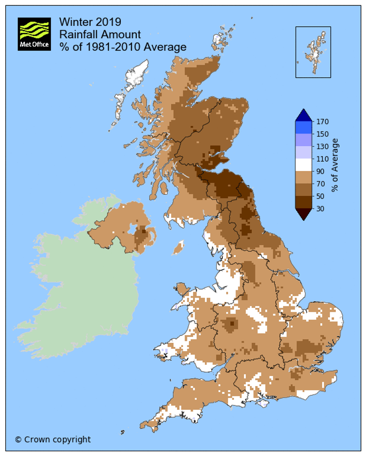 Winter rainfall in 2018-2019 as percentage of 1981-2010 average (Met Office)