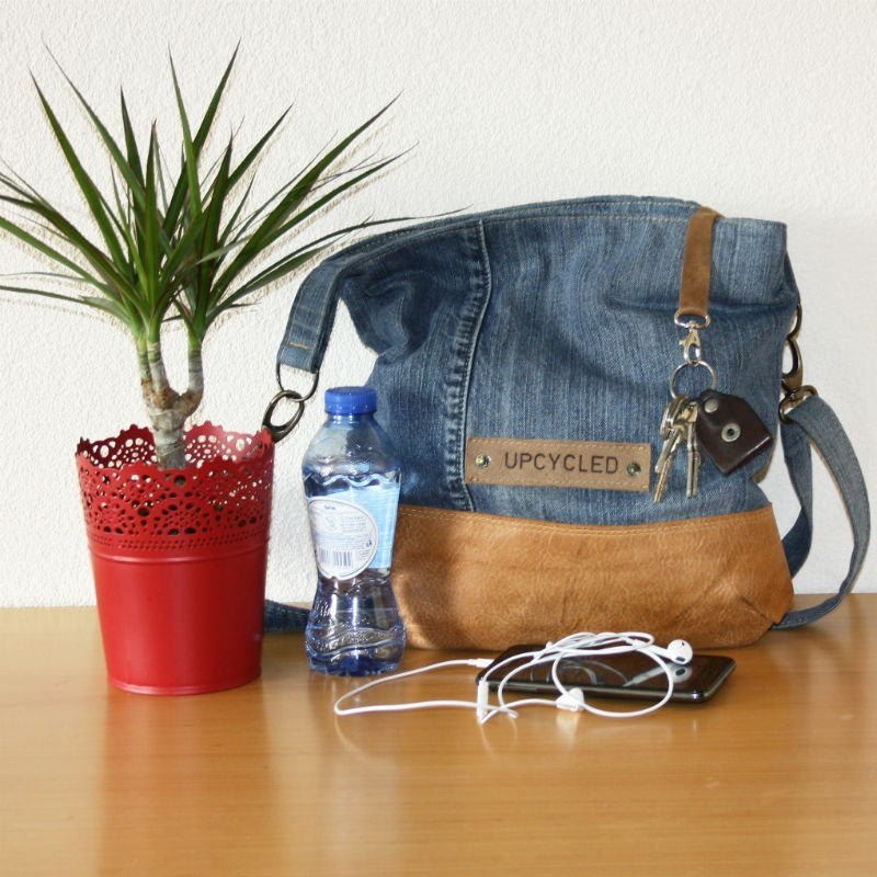 A bag upcycled from old jeans via Upcycle