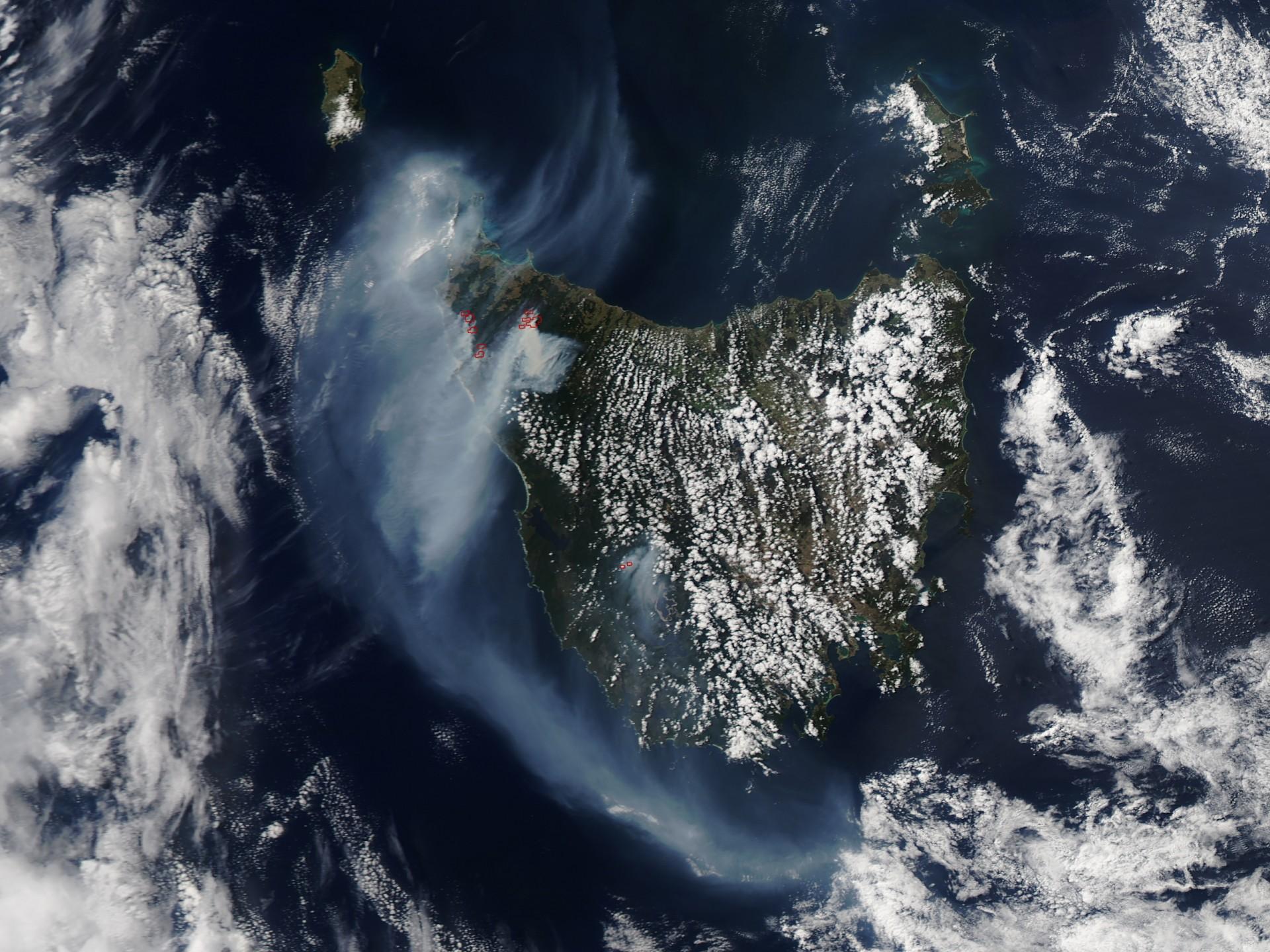 Tasmania fires. NASA image by Jeff Schmaltz