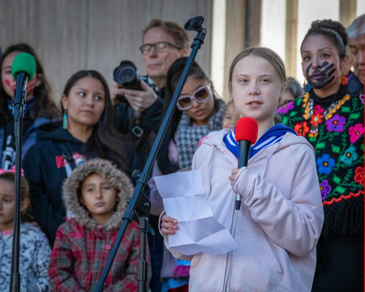 Greta Thunberg addresses climate strikers at Civic Center Park in Denver. Photo: Andy Bosselman, Streetsblog Denver
