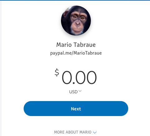 One of the donation options on Zoological Wildlife Foundation's website is to directly send money to Tabraue's personal Paypal account.