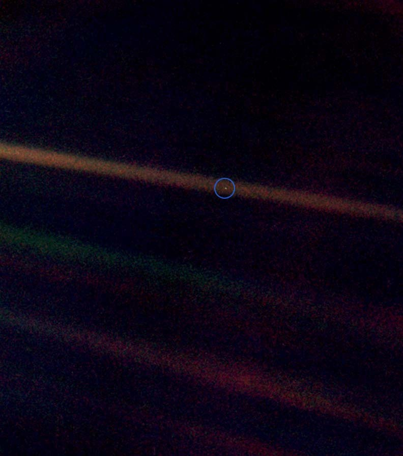 "The ""Blue Pale Dot"", a photograph of Planet Earth taken by space probe Voyager 1 in 1990 from a distance of about 6 billion kilometers"