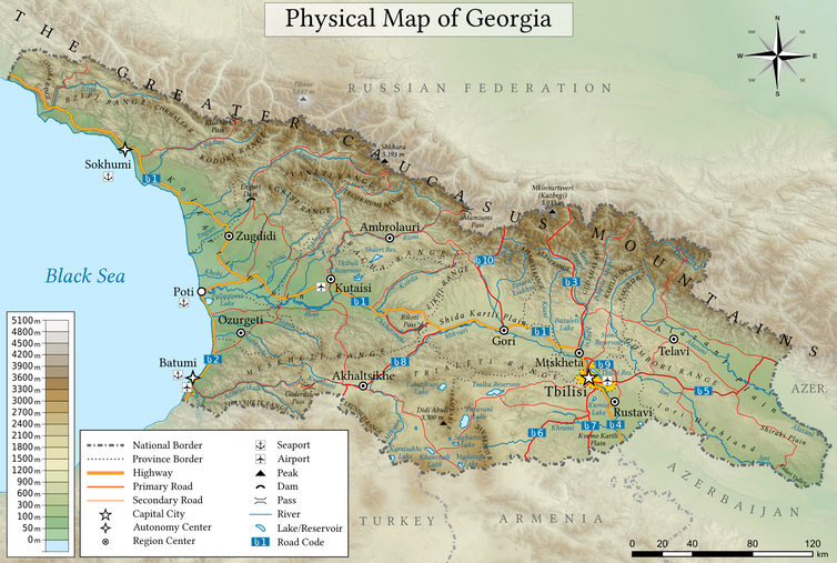 Georgia's habitats range from alpine peaks to river floodplains and the Black Sea coast.  Giorgi Balakhadze/Wikimedia, CC BY