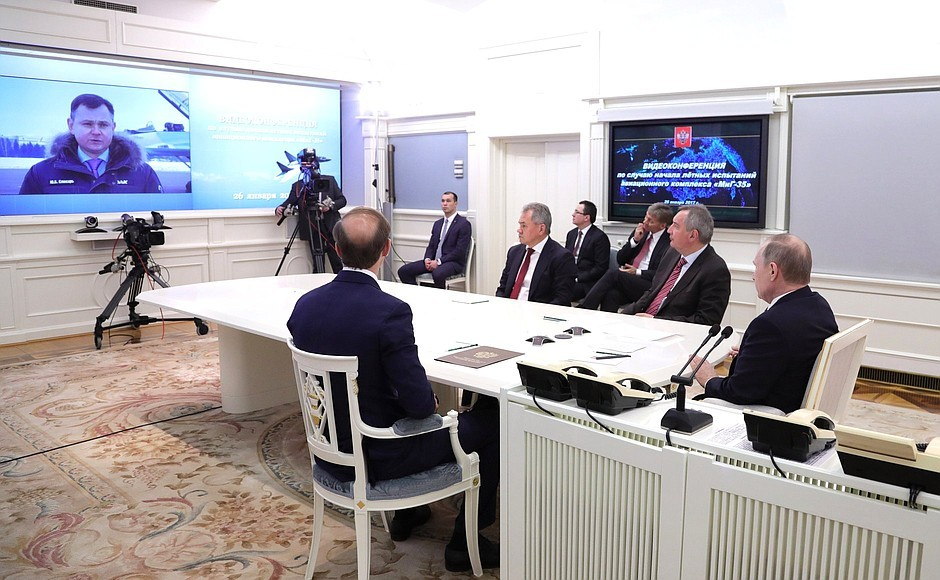 Vladimir Putin videoconferencing with aircraft corporation MiG [Kremlin]